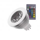 Lámpara LED RGB GU5.3 MR16 3W con controlador integrado y mando